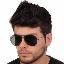 Oculos Rayban Aviador Rb3025 Preto Lentes Preto G15 Vidro