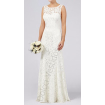 Vestido Longo Em Renda, Festa, Noiva, Casamento Civil