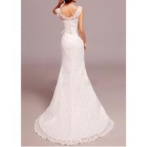 Vestido De Noiva Em Renda Alcinha Decote - Tamanho G
