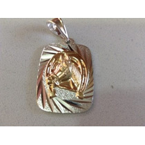 Colgante Grande Plata Con Oro Hombre Cadena Gruesa Plata 950