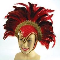 Casco Con Plumas Rojas, Joyas Y Penacho P/ Disfraz Burlesco