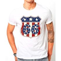Camiseta Camisa Infantil Adulto Vintage Rota Route 66 Usa