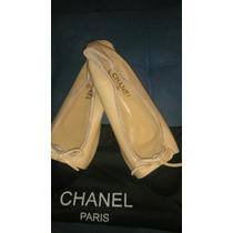 Sapatilha Chanel Em Couro Pronta Entrega