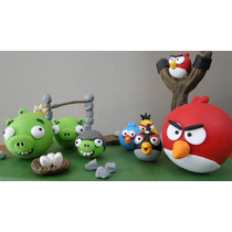 Angry Birds Adorno P Torta,porcelana Fria,pinchos,souvenirs