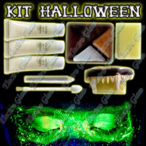 Kit Maquillaje Halloween Luminiscente Glow In The Dark Neon