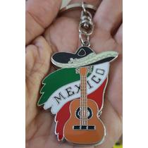 Recuerdo De Mexico Precioso Llavero Metalico Guitarra 1359