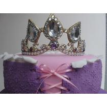 Corona Rapunzel En Porcelana Fria, Adorno Para Torta.