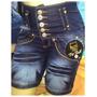 Bermuda Jeans Estilo Pitbull Laycra 5 Botões Cós Alto