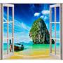 Vinilo Mural Ventana Simulación Playa Decoración
