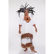 Traje De Azteca Para Mujer, De Manta O Yute