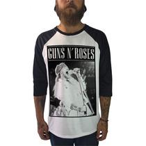 Raglan Guns N Roses Camisetas Moletom Bandas Rock Axl Slash