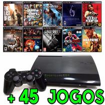 Playstation 3 Ps3 Super Slim + 45 Jogos Originais + Hdmi