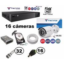 Kit Cftv Completo Dvr16 Canais +16 Cam Tecvoz 2.0 Megapixels
