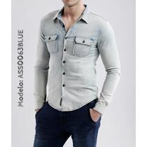 Camisa De Jean, Denim Prelavada, Strech Marca Altoretti