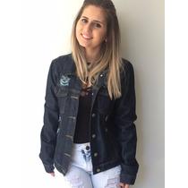 Jaqueta Jeans Escura Moda Inverno Fashion Balada