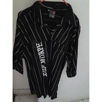 Camisa De Caballero Negra Manga Tres Cuartos
