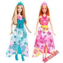2 Bonecas Barbie Coleção Mix & Match Princesas Rosa E Azul