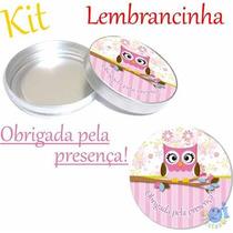 Kit Lembrancinha Corujinha 40 Latinha De Metal - 40 Adesivo