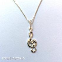 Pingente Clave Sol Música Prata 925 Partitura Nota Musical