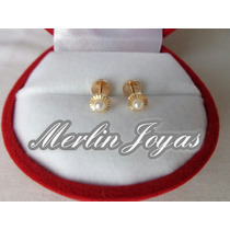 Aritos Abridores Oro18k Facetados Con Perla Central - M. J.
