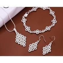 Collar, Pulsera Y Aretes De Plata 925, Diseño: Rombos