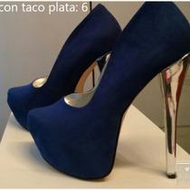 Zapatos Tipo Usa Azul Taco Plata Con Plataforma Talle 36