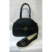 Combo Bolichero Zapato + Bolso Baul Mujer Negro Envío Gratis