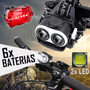 Lanterna Farol Bike Led T6 Duplo Com Zoom + Pac 6 De Bateria