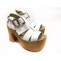 Sandalia Zapato Mujer Alto Cuero Eco Primavera Verano Twins!