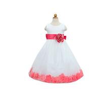 Hermoso Vestido Presentación Ceremonia Niña Blanco/rosa