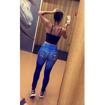 Calça Legging Jeans Fake Rasgadinha
