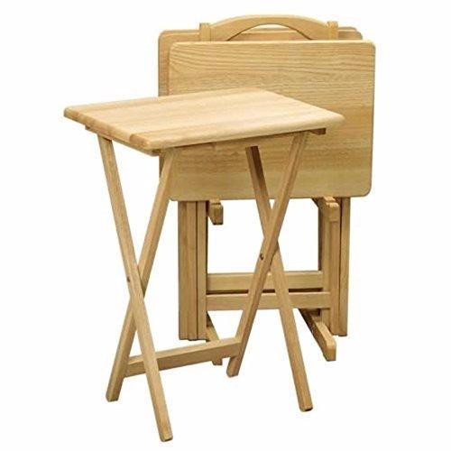 Mesas plegables set 4 pzs con porta mesas color natural for Mesas de exterior plegables