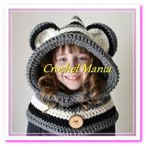 Gorros Tejidos Crochet Tipo Capucha Para Niño Niña Y Adultos