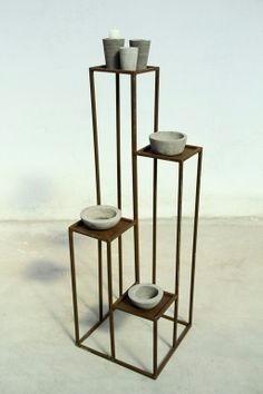 Porta maceta macetero plantas dise o hierro soporte pata - Maceteros metalicos ...