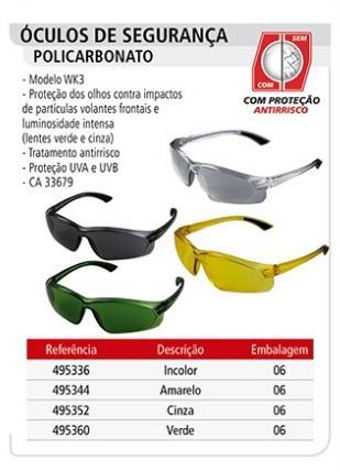 74130601a2045 Óculos De Segurança Policarbonato Incolor Wk3 6unid Worker - R  69 ...
