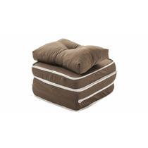 Puff Conforto 3 X 1 Com Travesseiro Puff Sofá Colchão Marrom