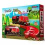 Trencity Kit Inicial Con Locomotora Y Vagon Rojo Madera