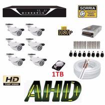 Kit 6 Cameras Ahd Hdcvi Hd 1tb Dvr 8 Canais Ahd-m Tribrido !