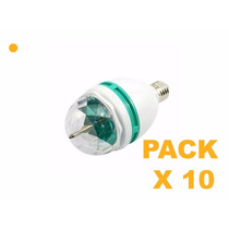 Pack X10 Lampara Giratoria Led Rgb Multicolor Dj Fiestas E27
