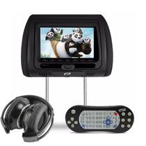 Encosto Cabeca Banco Carro C/ Leitor Dvd Cd Controle + Fone
