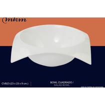 Plato Cuadrado Sopero Tazon Bowl Porcelana Fina Mkm Curve