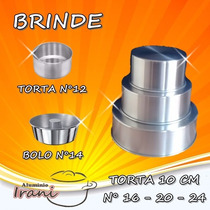 Forma Para Bolo Torta 10 Cm Em Alumínio Kit 3 Pçs + Brinde