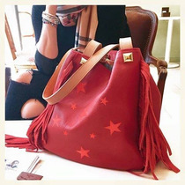 Cartera De Cuero Con Estrellas Bordadas Flecos The Big Shop