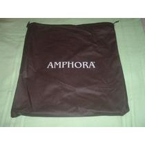 Cartera Amphora De Cuero Gris Oscuro Y Negro