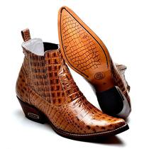 Botina Masculina Texana Country Couro Croco 6024 Croco Nozes