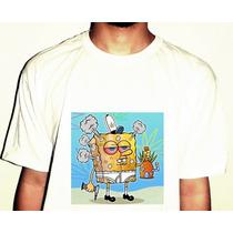 Camiseta Bob Esponja Gangsta Weed Animado Algodão Pronta Ent