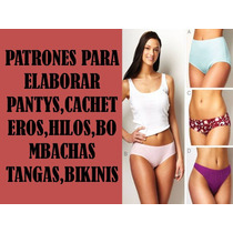 Patrones Moldes Pantaleta Cacheteros Bikinis Hilos Tanga Dam