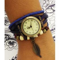 Relógio Feminino Pulseira Couro Com Pingente Vintage Fashion