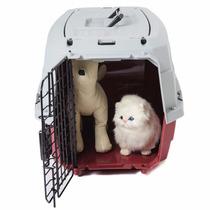 Jaula Transportadora Mascota Gato Perro Raza Pequeña Roja