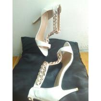 Sandalias De Tacon De Mujer Talla 37 Blancas